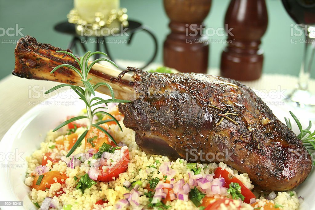 Lamb Shank On Couscous stock photo