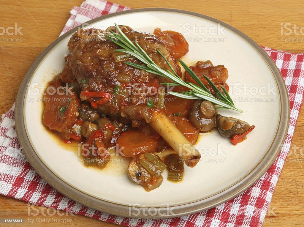 Lamb Shank with Vegetables stock photo