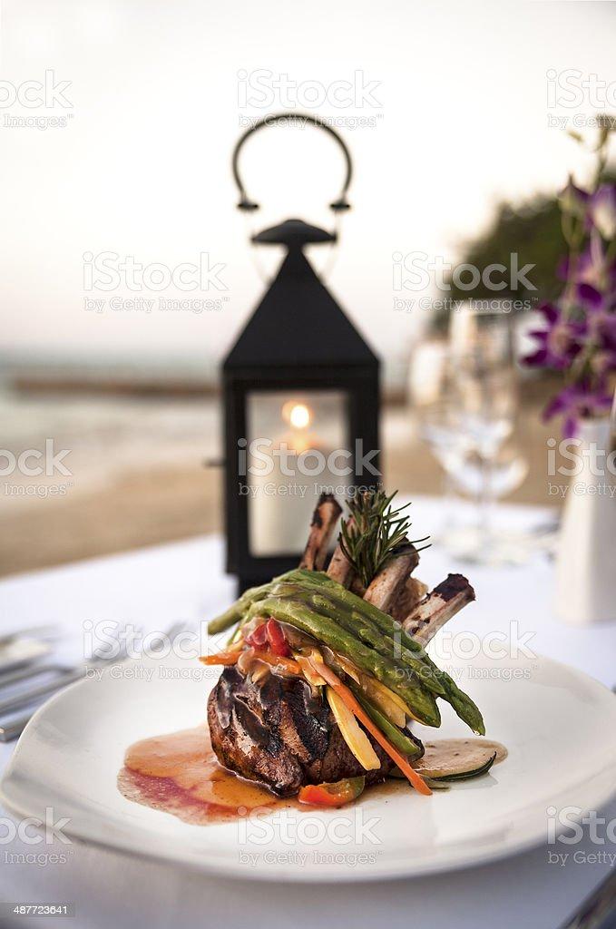 Lamb Shanks Gourmet Dinner royalty-free stock photo