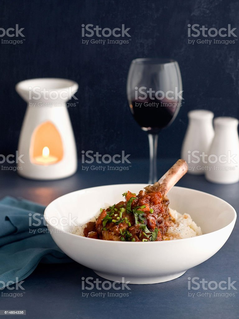 Lamb shanks with wine stock photo