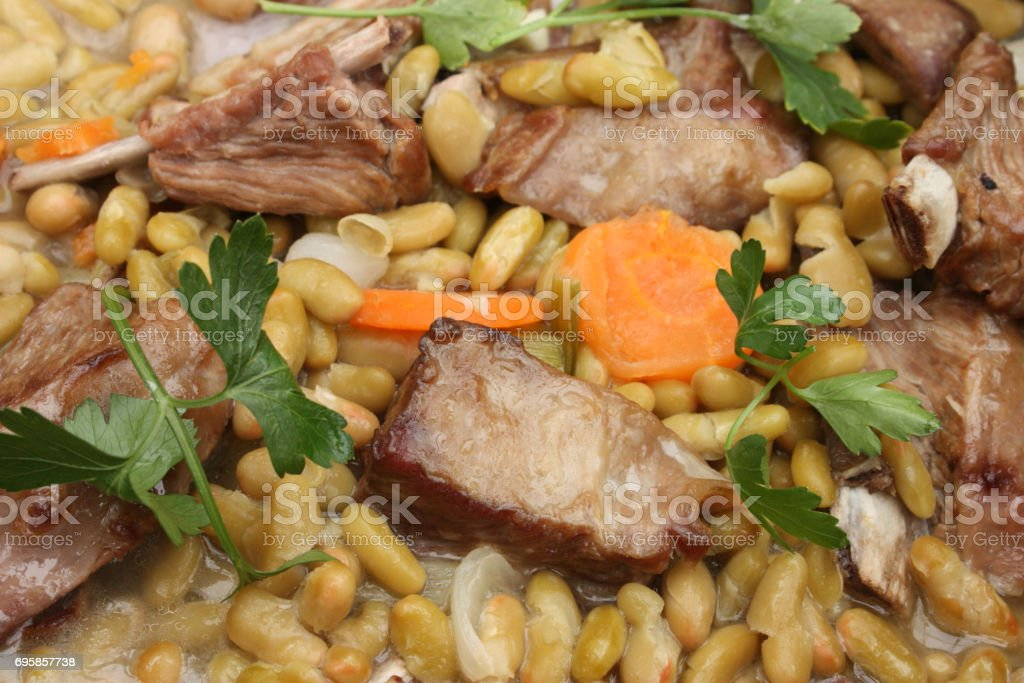 Lamb stew and flageolet stock photo