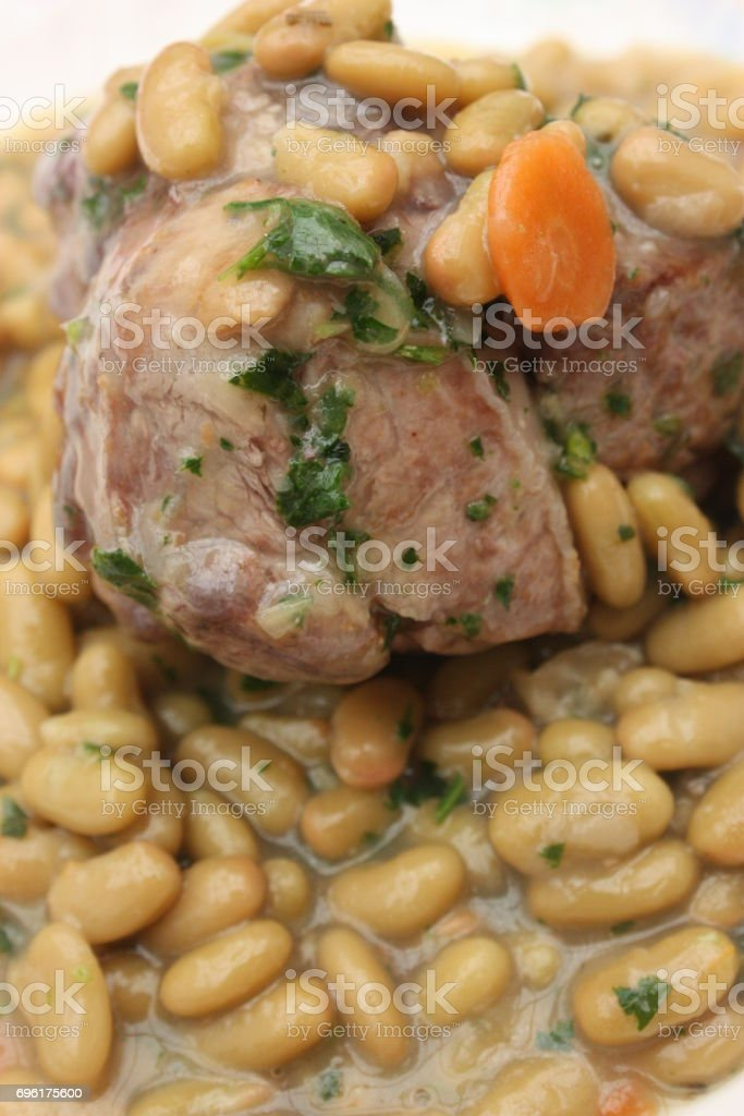 Lamb stew with flageolets stock photo