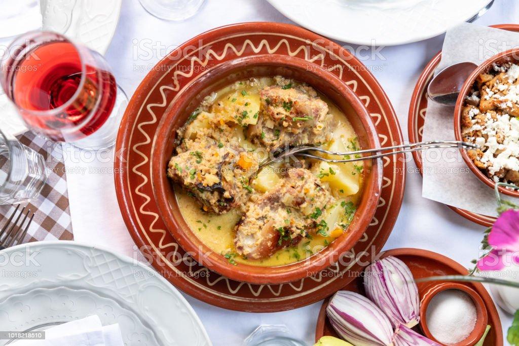 Lamb stew with potato stock photo