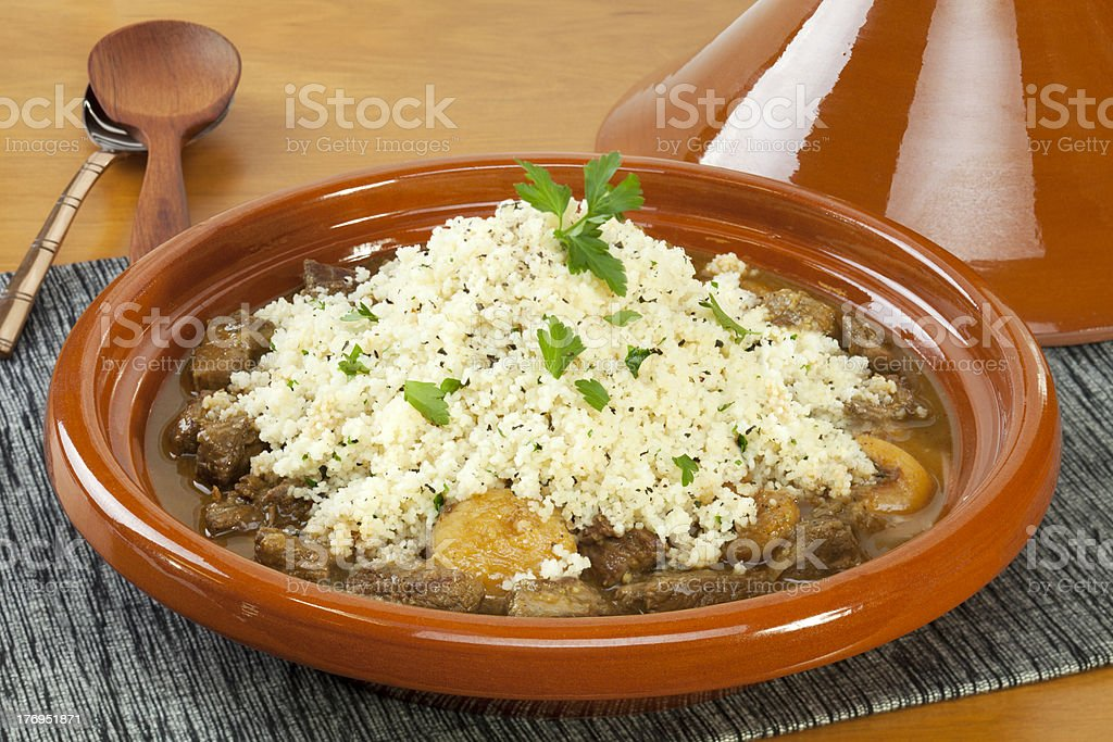 Lamb Tagine with Apricots and Couscous stock photo