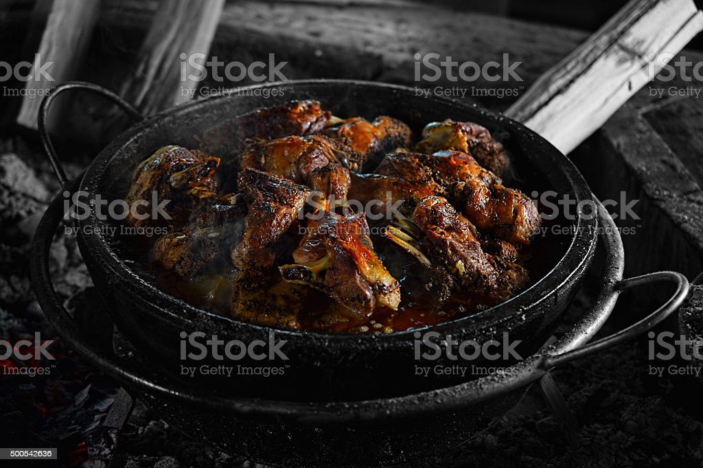 Lamb Under A Baking Bell stock photo
