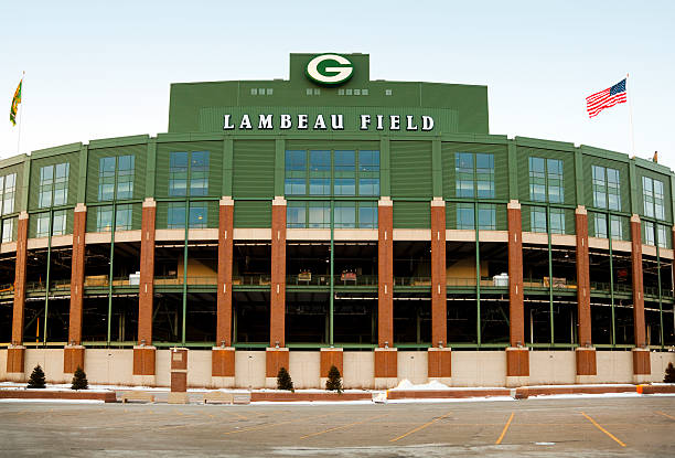 lambeau field; home of the green bay packers - green bay wisconsin stock photos and pictures