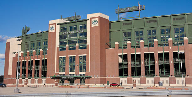 lambeau field in green bay - green bay wisconsin stock photos and pictures