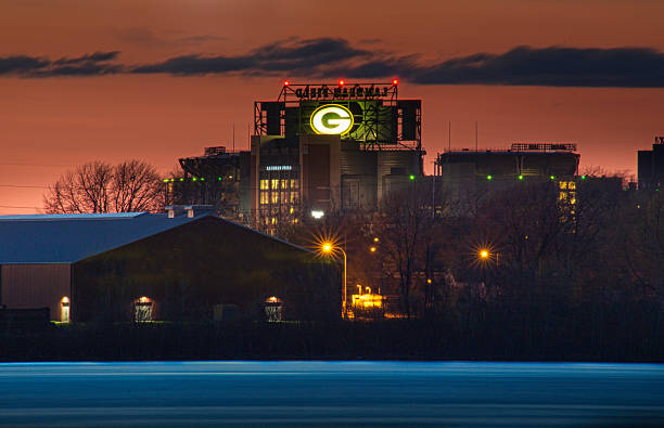 lambeau field in green bay wisconsin - green bay wisconsin stock photos and pictures
