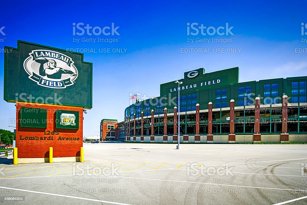 Lambeau Field stadium and sign in Green Bay, Wisconsin stock photo