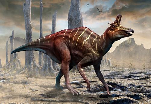 Lambeosaurus From The Cretaceous Era Scene 3d Illustration Stock Photo - Download Image Now