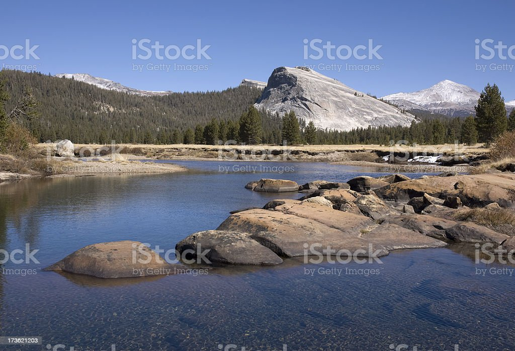 Lambert Dome and Yosemite Tuolumne Meadows royalty-free stock photo