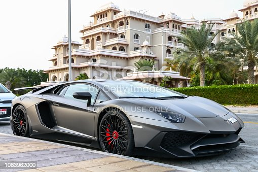 Dubai, UAE - November 16, 2018: Italian sportscar Lamborghini Aventador LP 750-4 SuperVeloce in the city street.