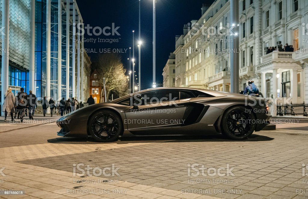 Lamborghini Aventador luxury sport carbon car parked on Kensignton Street in London stock photo