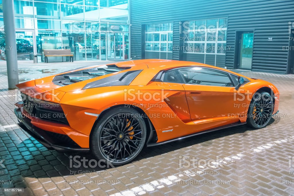 Lamborghini Aventador Orange Night On The Streets City Parking Place Russia Saintpetersburg 13 March 2018 Stock Photo Download Image Now Istock