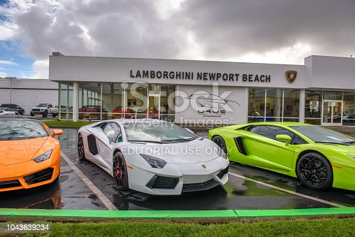 133277230 istock photo Lamborghini cars parked at the factory authorized dealership in California 1043639234