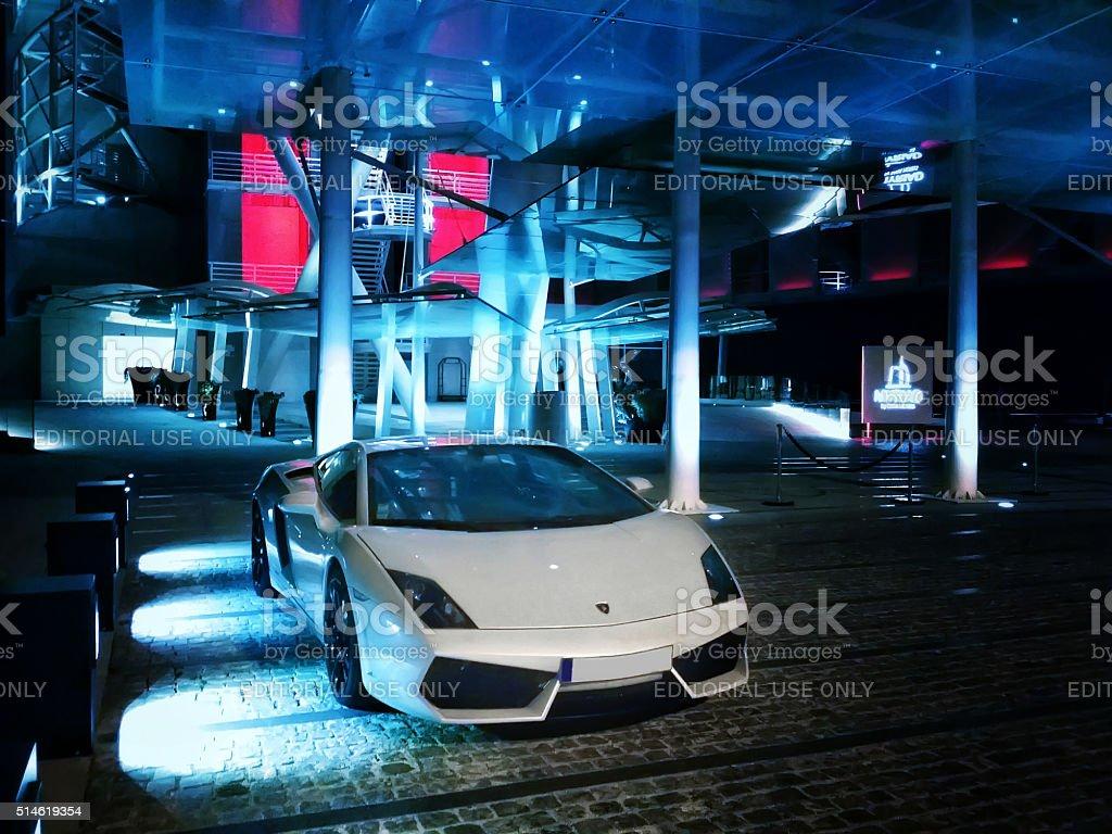 Lamborghini gallardo in front of the Myriad hotel, Lisbon, Portugal stock photo