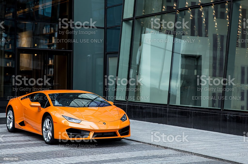 Lamborghini Huracan car of orange color stock photo