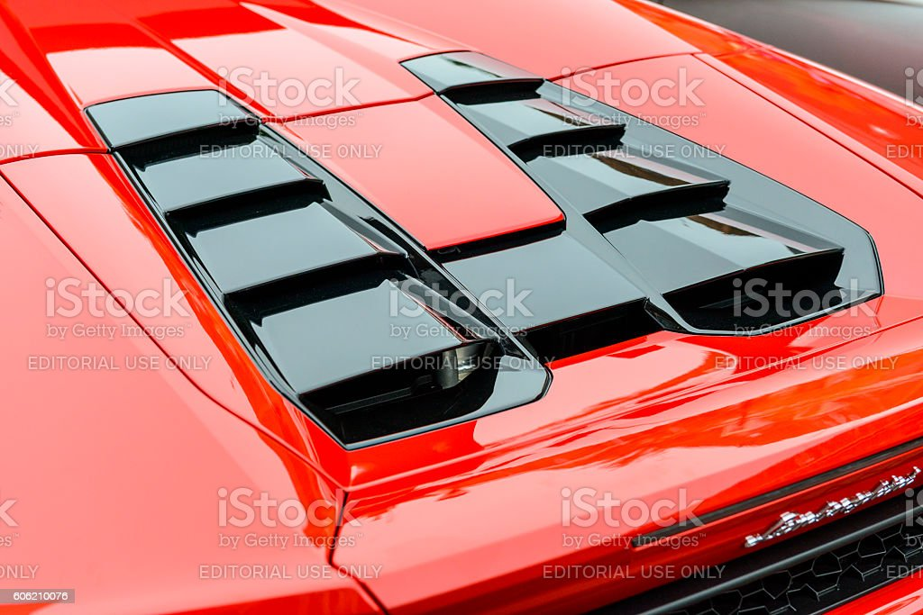 Lamborghini Huracan LP 610-4 Spyder sports car engine cover stock photo