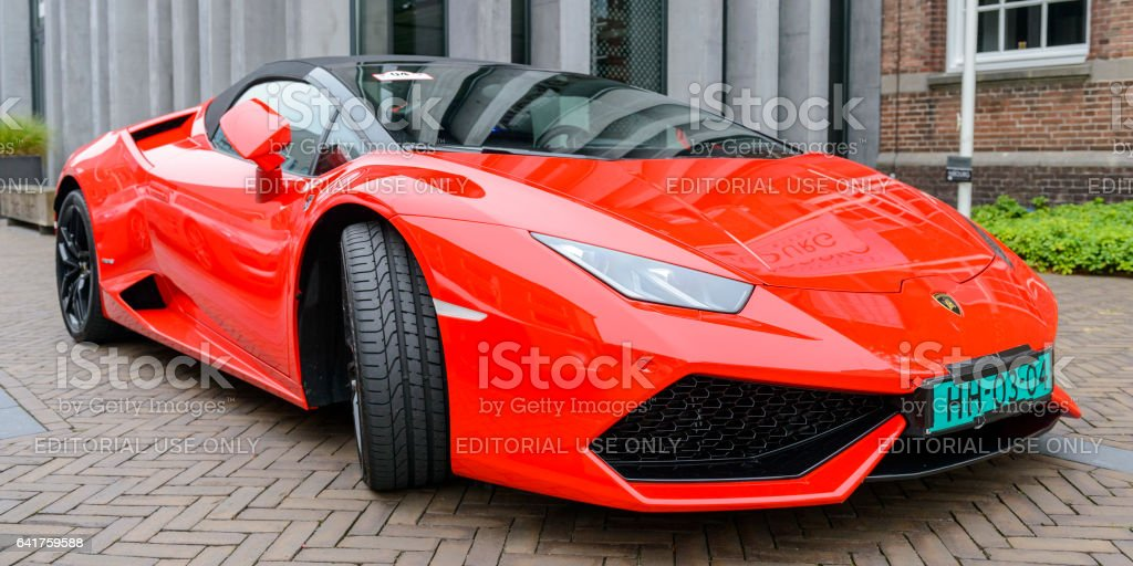 Lamborghini Huracan LP 610-4 Spyder sports car front view stock photo