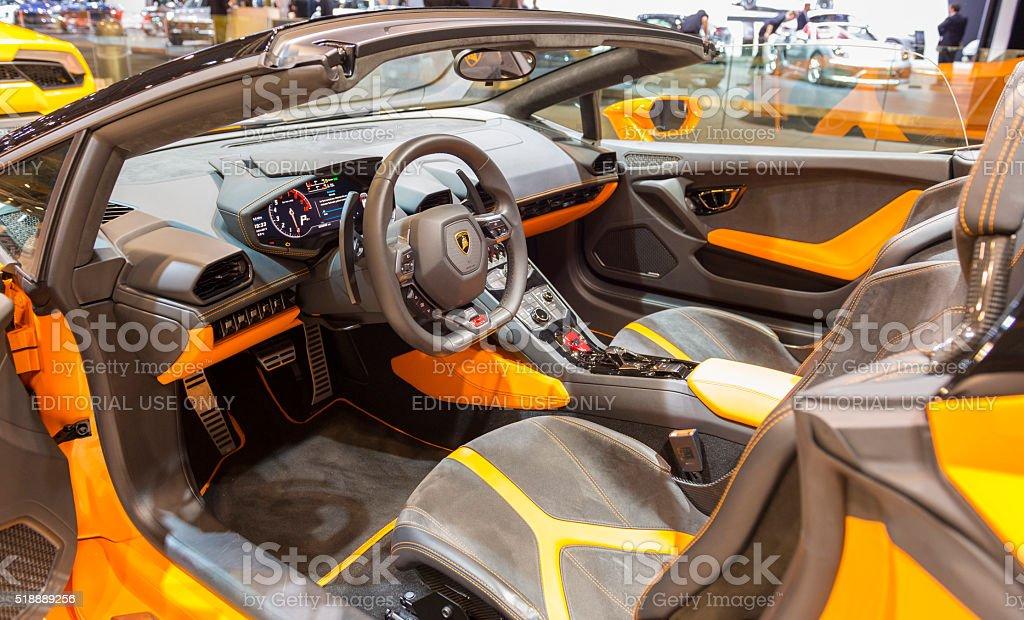 Lamborghini Huracan LP 610-4 Spyder sports car interior stock photo
