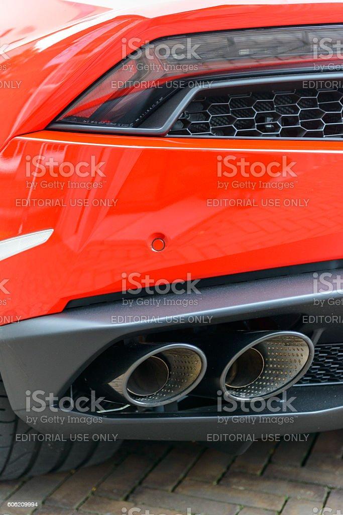 Lamborghini Huracan LP 610-4 Spyder sports car rear view stock photo