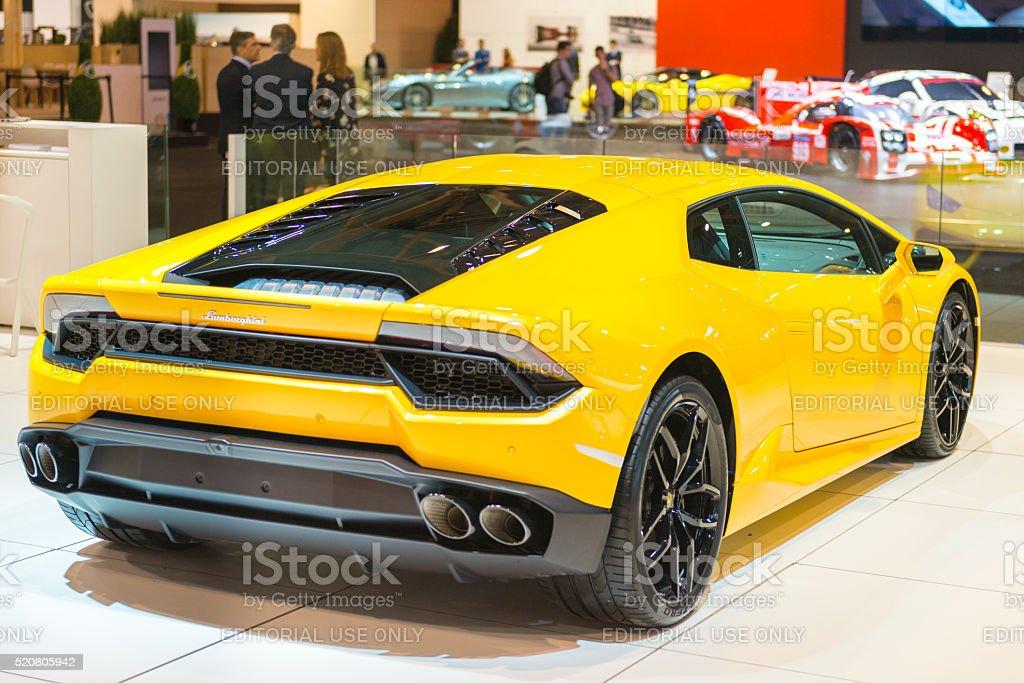 Lamborghini Huracan Sports Car Rear View Stock Photo More Pictures