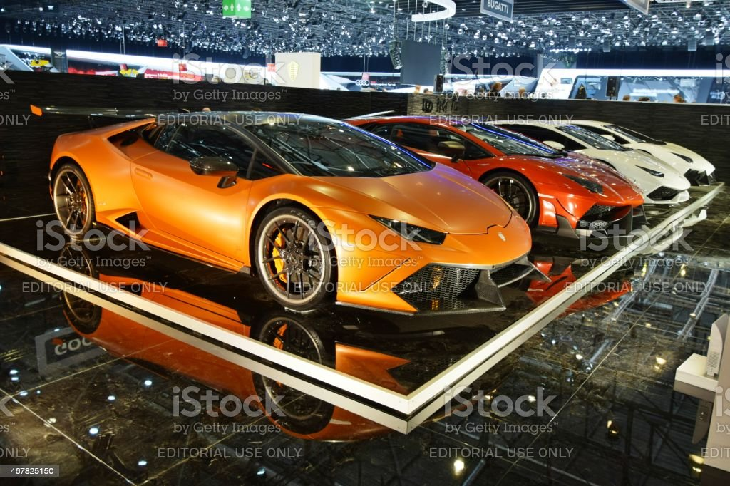 Lamborghini in a row on the motor show stock photo