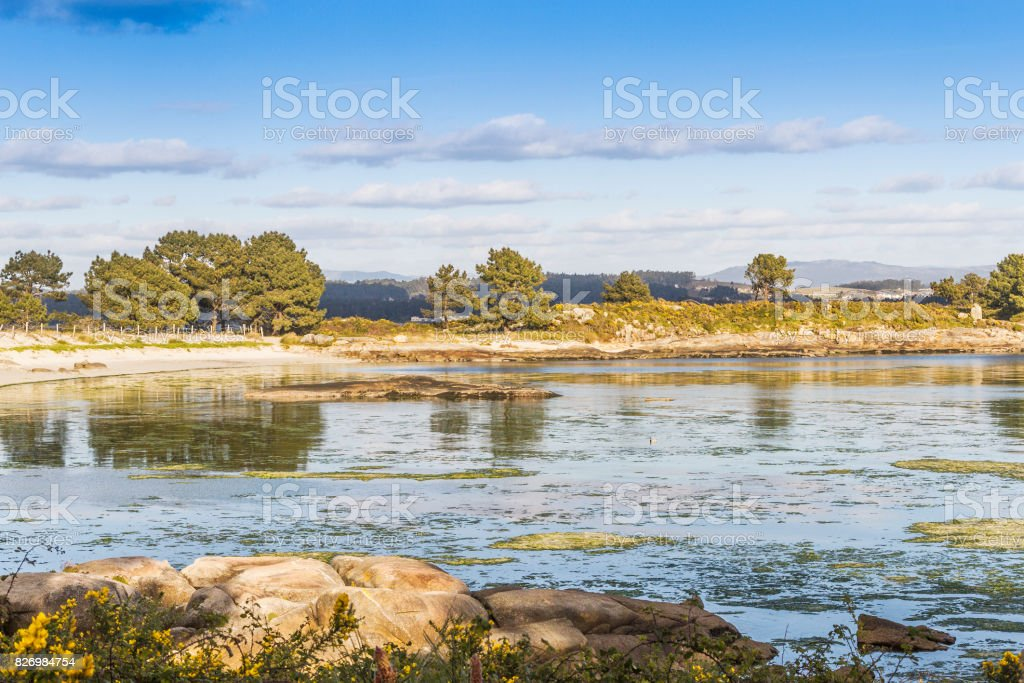 Lameira beach in Arousa Island stock photo