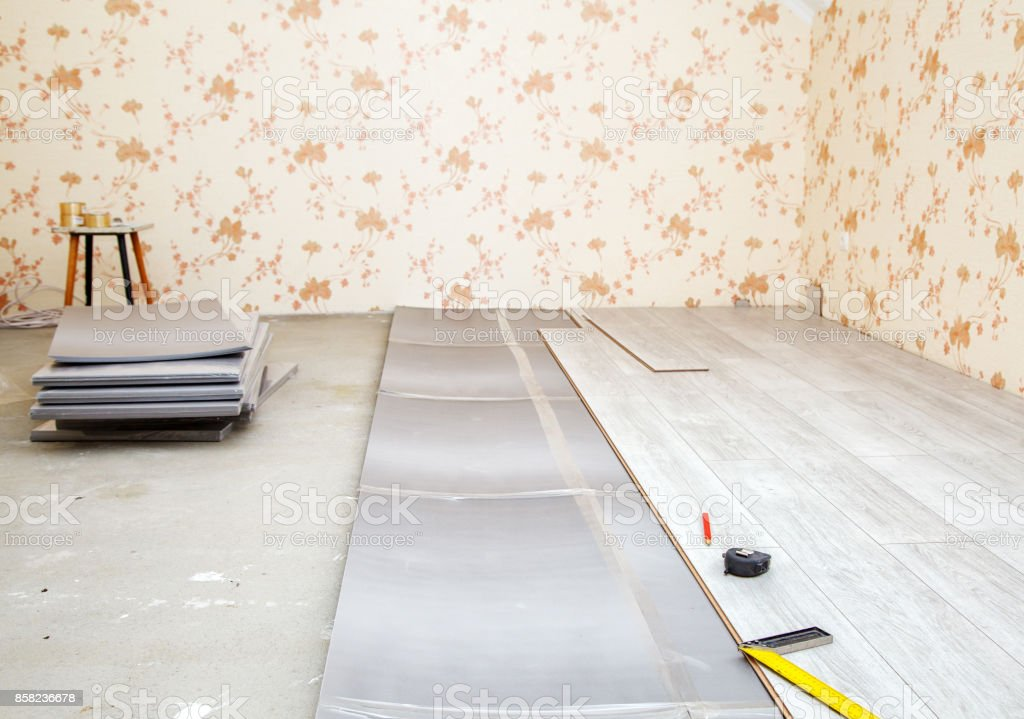 laminate boards prepared for laying on the floor stock photo