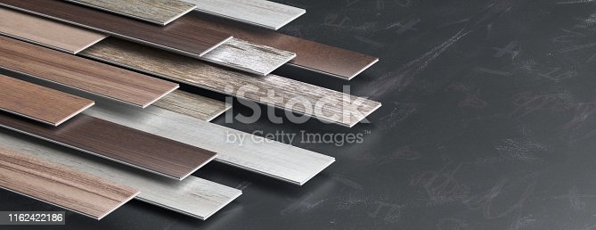 Laminate floor on black board background, banner, copy space. 3d illustration
