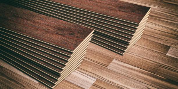 Laminate floor stack on wooden background. 3d illustration stock photo
