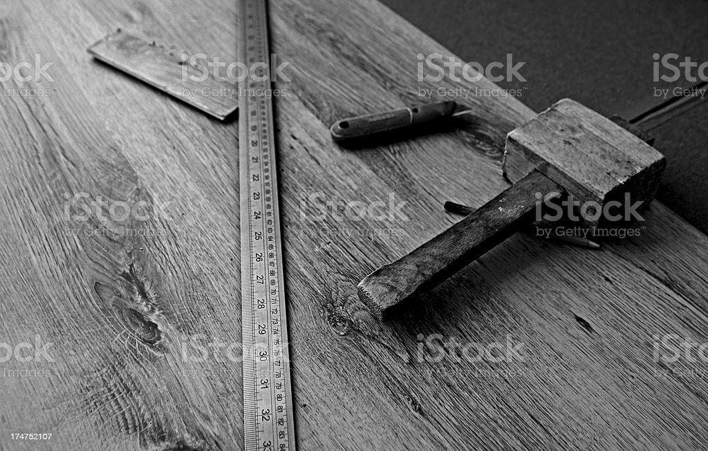Laminate flooring tools royalty-free stock photo