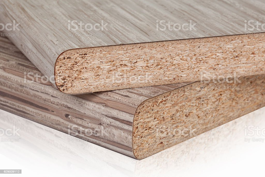 Laminated particleboard chipboard is used in the furniture ind stock photo