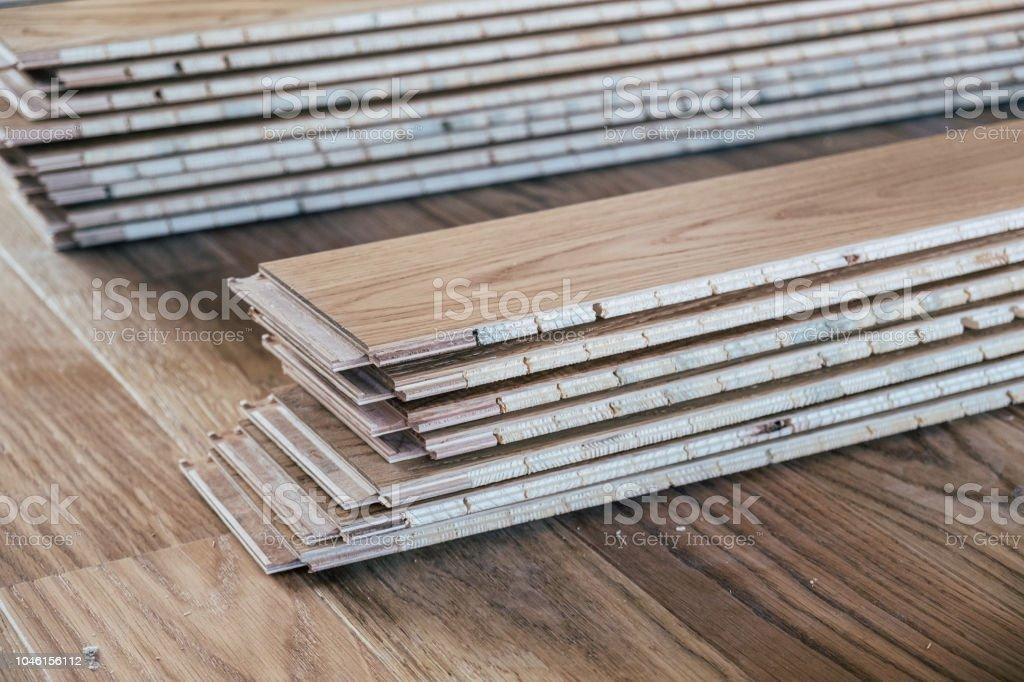 Laminated wooden flooring stock photo