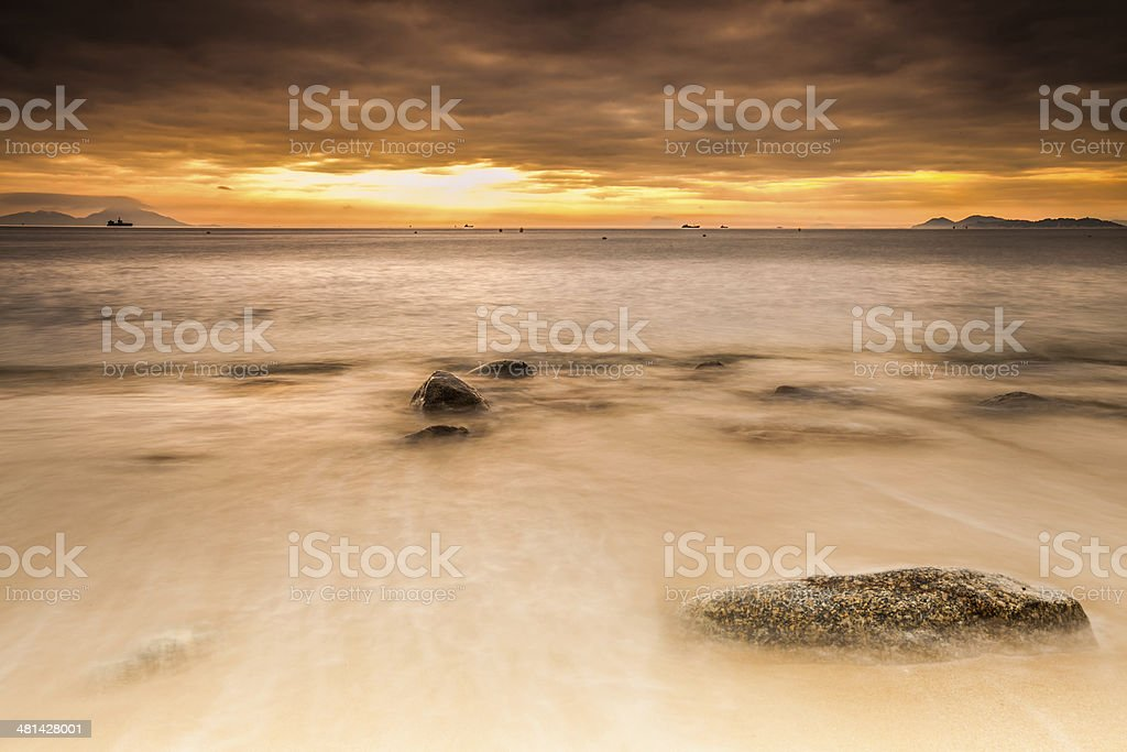 Lamma Island Beach Sunset stock photo