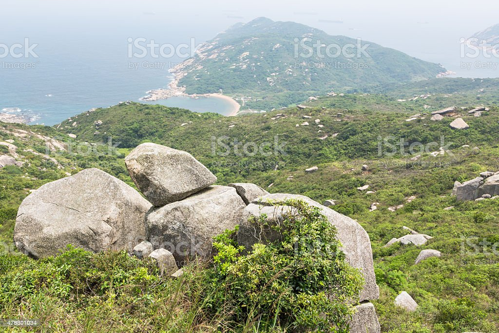 Lamma island coastline stock photo