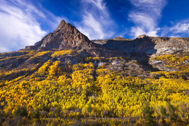 Lamoille Canyon is the largest valley in the Ruby Mountains, located in the central portion of Elko County in the northeastern section of the state of Nevada. Trees are in fall colors. Lamoille Canyon is the largest valley in the Ruby Mountains, located in the central portion of Elko County in the northeastern section of the state of Nevada. Trees are in fall colors. nevada stock pictures, royalty-free photos & images
