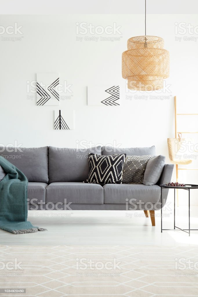 Lamp Above Grey Sofa With Pillows And Green Blanket In White Flat