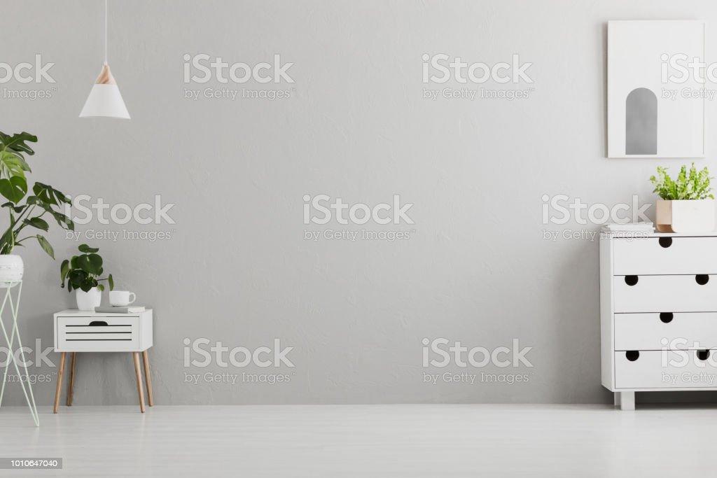 Uitgelezene Lamp Boven Witte Kast Met Plant In Grijs Woonkamer Interieur Met CE-13