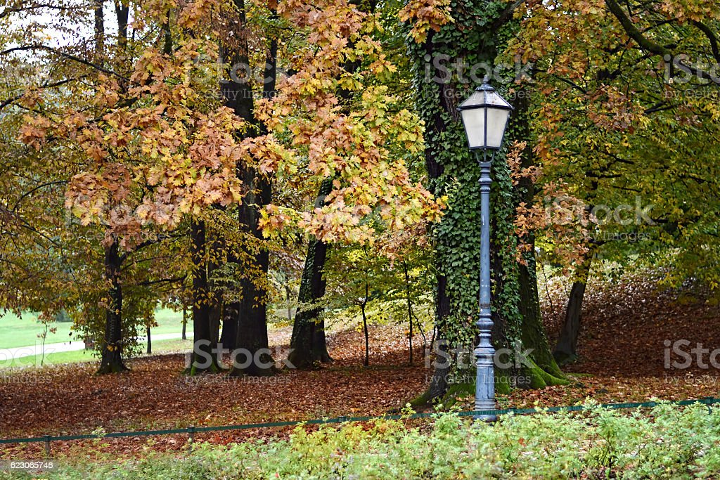 Lamp and autumn trees in Maksimir park, Zagreb, Croatia stock photo