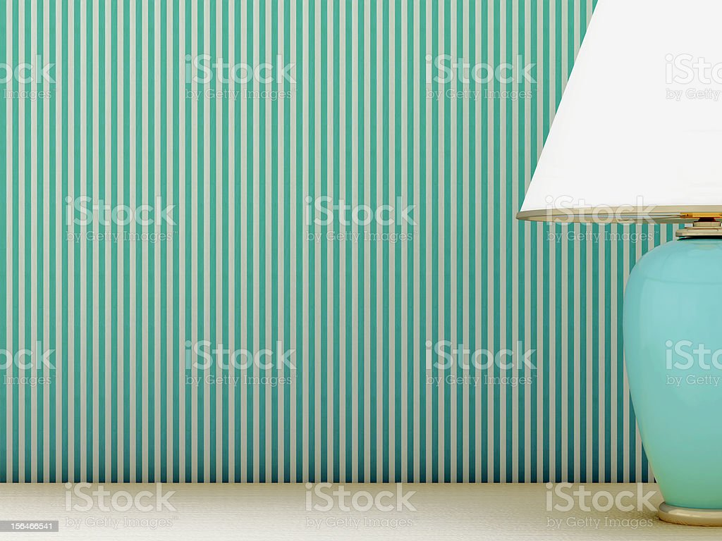 Lamp and striped wallpaper royalty-free stock photo