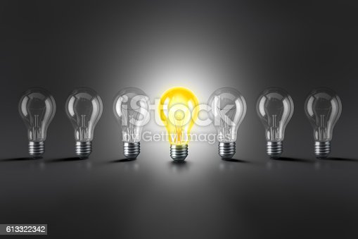 istock Lamp bulbs. 3D illustration 613322342