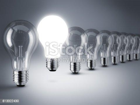 istock Lamp bulbs. 3D illustration 613322430