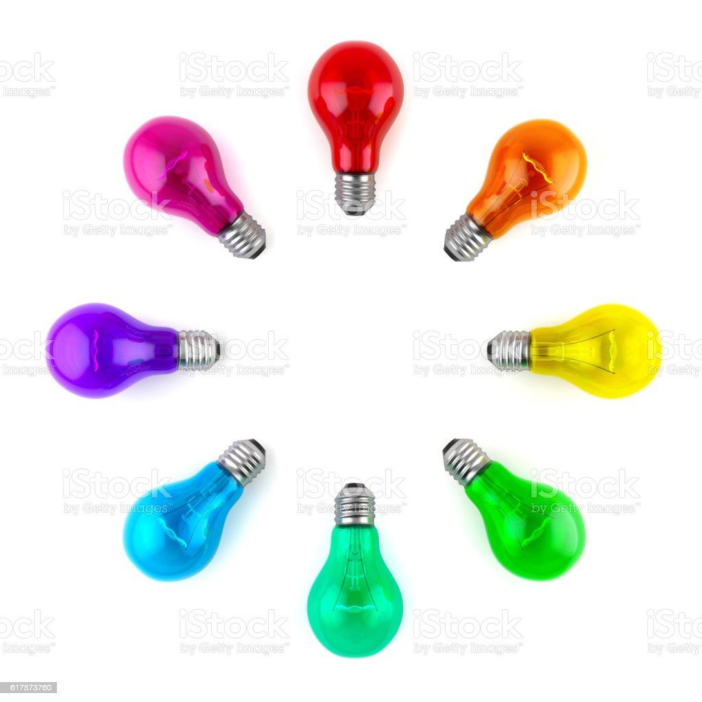 Lamp bulbs. 3D illustration stock photo