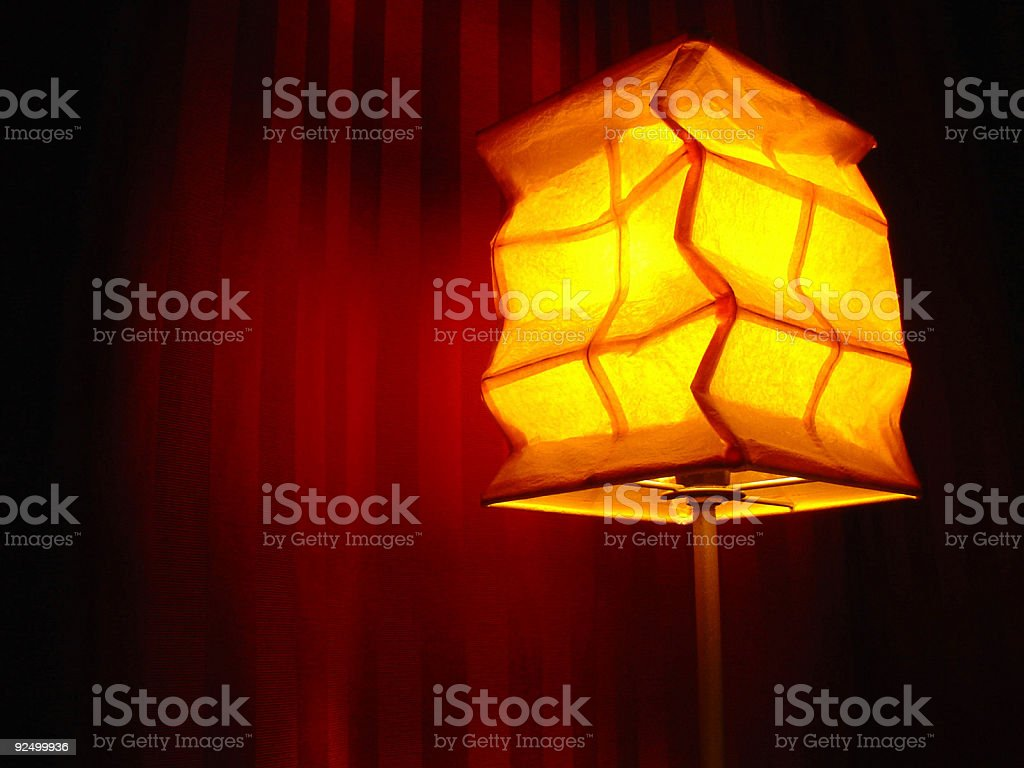 Lamp by Curtains royalty-free stock photo