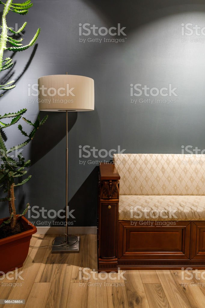 Lamp by vintage style sofa in cozy room zbiór zdjęć royalty-free