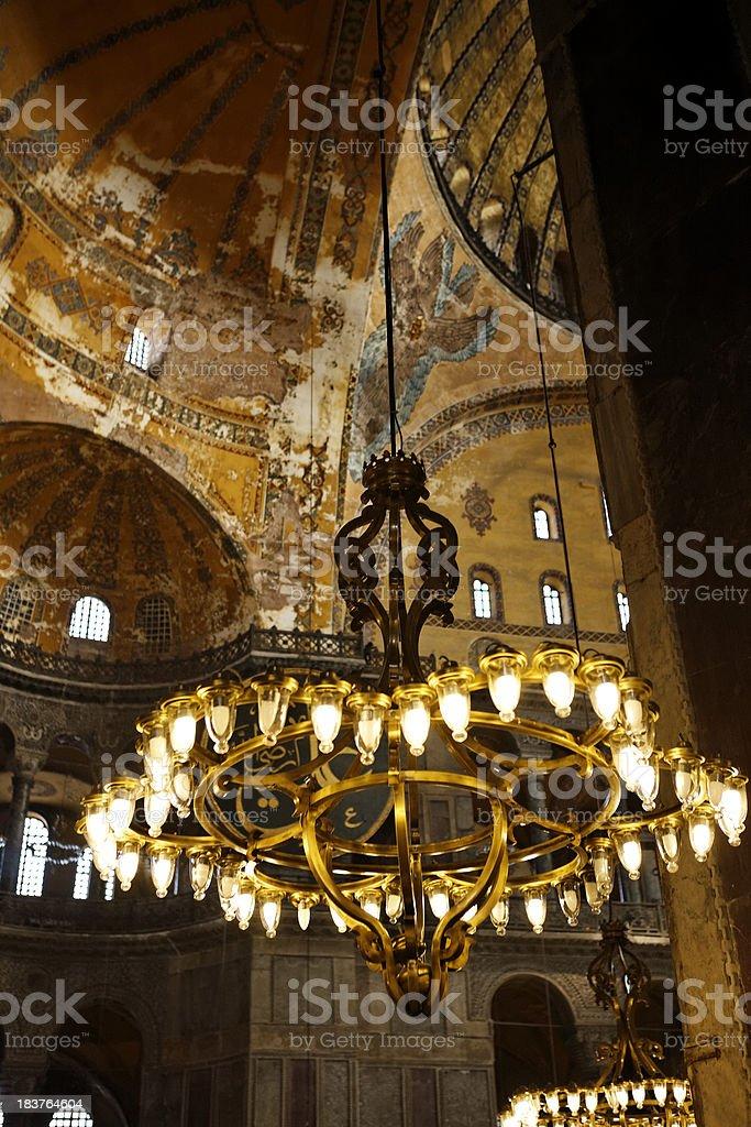 Lamp, Hagia sophia. Istanbul. stock photo