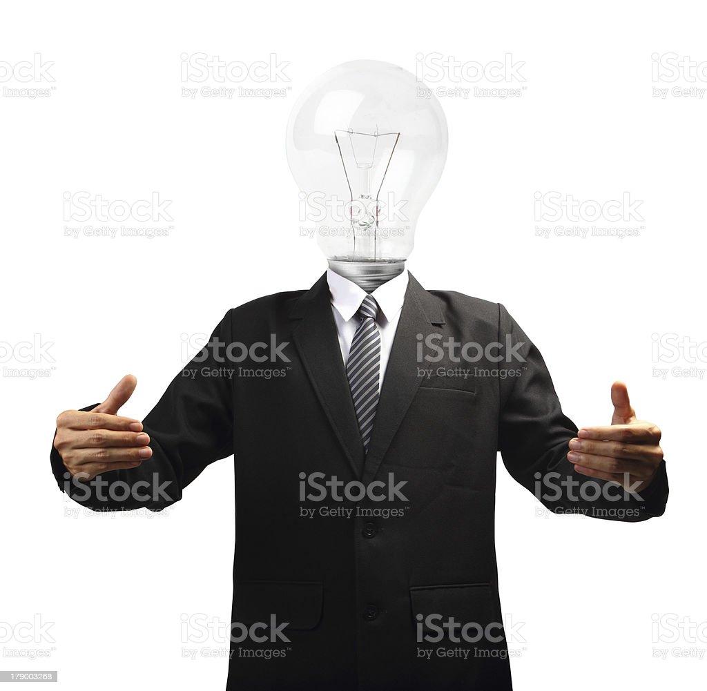 Lamp head businessman hand holding royalty-free stock photo