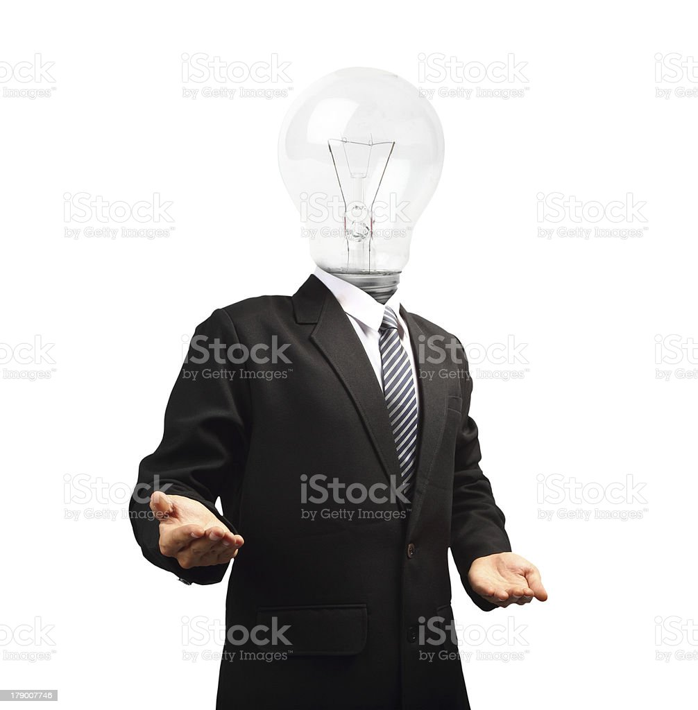Lamp head businessman open palm hand gesture royalty-free stock photo