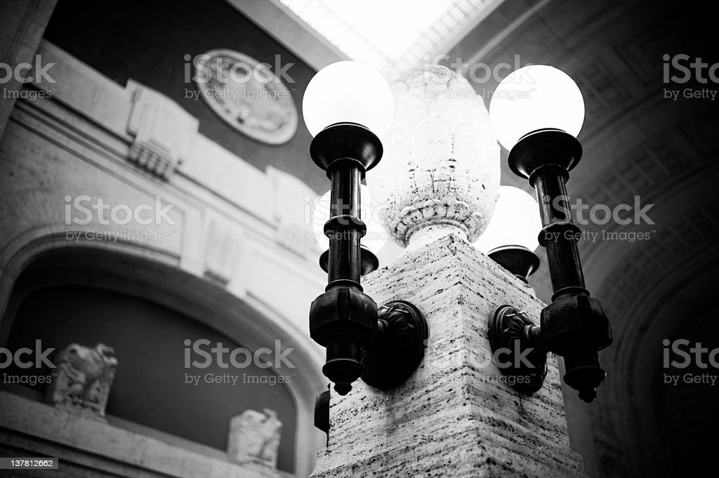 Lamp in Hall Station. Milano Central. Black and White royalty-free stock photo